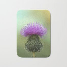 Bright Purple and Green Thistle Bath Mat