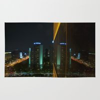 seoul Area & Throw Rugs featuring Seoul Reflection by Anthony M. Davis