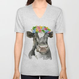 Black and White Cow with Floral Crown Watercolor Painting Unisex V-Neck