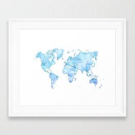 Light blue watercolor world map Framed Art Print