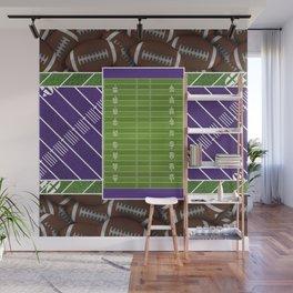 Purple Football Field and Footballs Wall Mural