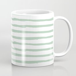 Elegant Stripes White and Pastel Cactus Green Coffee Mug