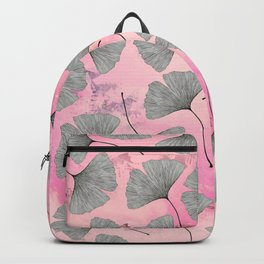 botanical biloba drawing pattern on pink watercolor marble Backpack