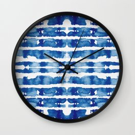 Shibori Vivid Indigo Blue and White Wall Clock