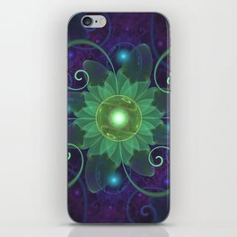 Glowing Blue-Green Fractal Lotus Lily Pad Pond iPhone Skin
