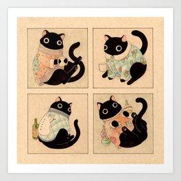 Christmas Sweater Cats Art Print