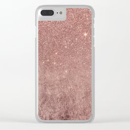 Girly Glam Pink Rose Gold Foil and Glitter Mesh Clear iPhone Case