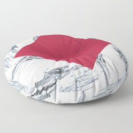 Red + Marble Floor Pillow