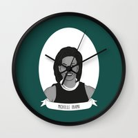 obama Wall Clocks featuring Michelle Obama by Illustrated Women in History