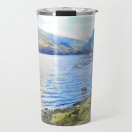 Little Tree at Buttermere, Lake District, England Watercolour Painting Travel Mug