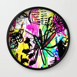 hot pink doodles Wall Clock