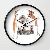 bulldog Wall Clocks featuring Bulldog by jo clark