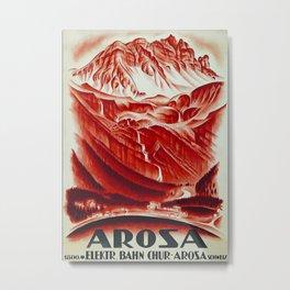 Elektrische Bahn Chur Arosa Travel Poster Metal Print