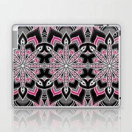 Black White Pink Flower Panel Art Laptop & iPad Skin