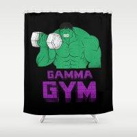 gym Shower Curtains featuring gamma gym by Louis Roskosch