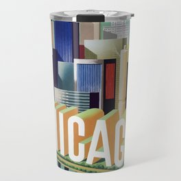 Vintage travel poster  - Chicago Travel Mug