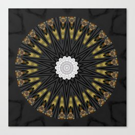 Dark Black Gold & White Marble Mandala Canvas Print
