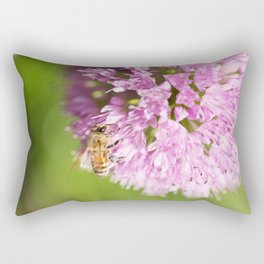 Honeybee on Allium - Onion Flower Rectangular Pillow