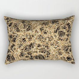 Gold Thread on Black | Abstract Brain Map 3 Rectangular Pillow