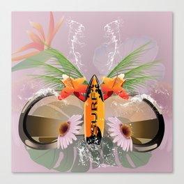 Surfing, sunglasses with surfboard Canvas Print