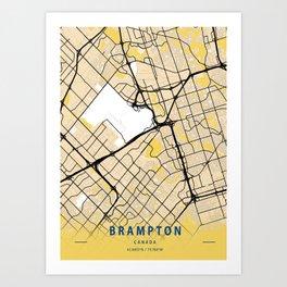 Brampton Yellow City Map Art Print