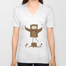 Little Owl Girl Unisex V-Neck