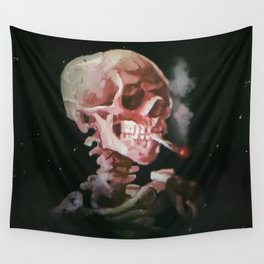 Skull of a Skeleton with Burning Cigarette Wall Tapestry
