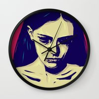 anxiety Wall Clocks featuring Anxiety by Giuseppe Cristiano