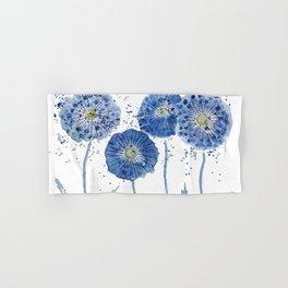 four blue dandelions watercolor Hand & Bath Towel