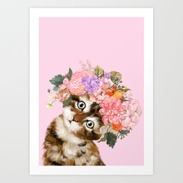 Baby Cat with Flower Crown Art Print