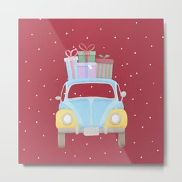Vitange Car with Christmas Gifts on the roof Metal Print