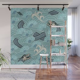 Pattern of water with dragons Wall Mural