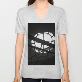 Black and White Clock Stairway Unisex V-Neck