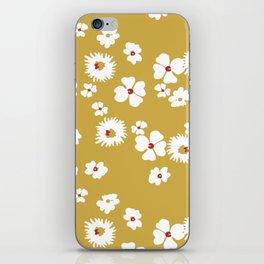 Modern liberty print on mustard ground iPhone Skin