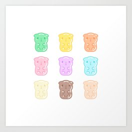 Rainbow Gummy Candy Guinea Pigs Pattern  Art Print