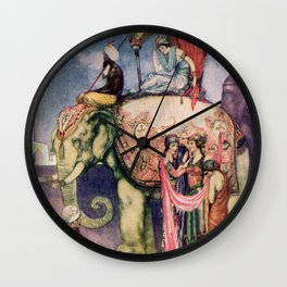 Indian scene with an elephant Wall Clock