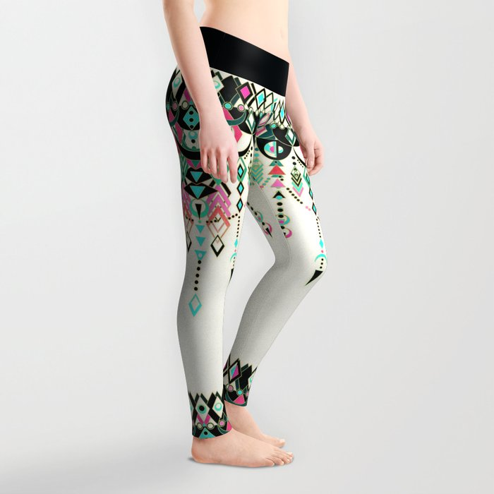 Modern Deco in Pink and Turquoise Leggings