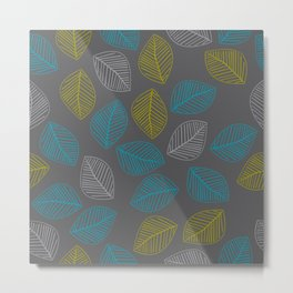 Mid Century Modern Falling Leaves Turquoise Chartreuse Gray Metal Print