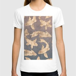 Koi at dusk - scratched leather T-shirt