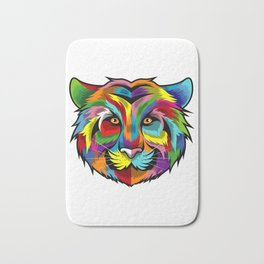 Colorful Tiger Face Multicolor Design Bath Mat