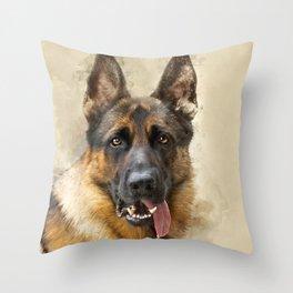 German Sheppard Portrait Throw Pillow