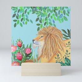 lion, jungle tropical rain forest zen botanical Mini Art Print