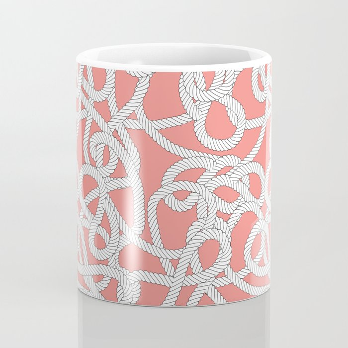 Nautical Rope Knots in Coral Coffee Mug