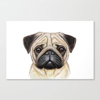 pug Canvas Prints featuring Pug by Nika Akin