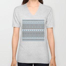 Aztec Essence Pattern II Light Blue Black White Unisex V-Neck
