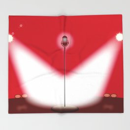 Open Mic Night Red Background Throw Blanket