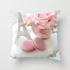 Shabby Chic Paris Pink Macarons Eiffel Tower Roses Romantic Prints and Home Decor Throw Pillow