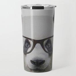 Panda with Nerd Glasses Travel Mug
