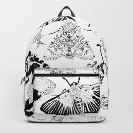 Moth Pattern Black and White Backpack