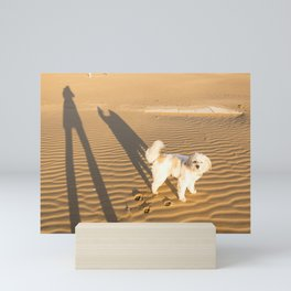Shadows of a dog and his master on the sand in winter just after dawn Mini Art Print